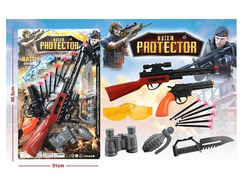 Набор оружия 888-1 (72/2) 2 оружия, нож, 6 пластиковых патрон на присоске, очки, на листе