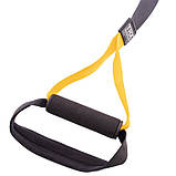 Петли TRX тренировочные подвесные многофункциональные PRO PACK P3 HOME Черный-желтый (СПО FI-3726-05), фото 4