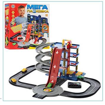 Детский игровой набор паркинг для ребенка Гараж игрушечный на четыре уровня Игровой паркинг на батарейках