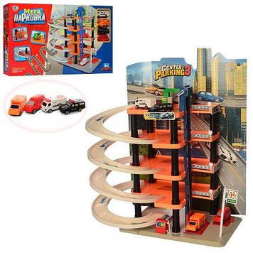 Игровой пятиэтажный гараж-паркинг для ребенка с винтовым спуском и четырьмя машинками Игрушечный гараж паркинг