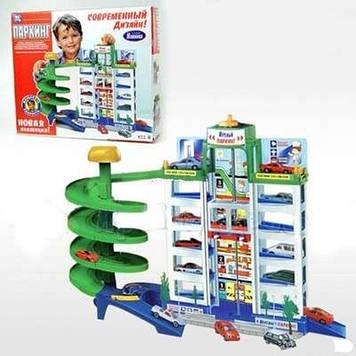 Многоуровневый игрушечный гараж Детский игровой гараж Сити паркинг игрушечный с лифтом и 4 машинками