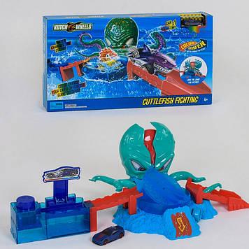 Автотрек ловушка осьминога Игрушечный трек машинки меняют цвет Детский автотрек Трек с машинкой для мальчика