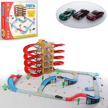 Детский игровой пятиуровневый гараж паркинг с винтовым спуском Гараж с вертолетной площадкой и тремя машинками