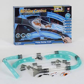 Автотрек трубопроводный с гоночной машинкой на радиоуправлении с яркой подсветкой Автотрек для мальчика
