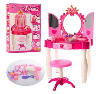 Трюмо дитяча іграшкова з дзеркалом Іграшкова трюмо зі стільчиком і аксесуарами Ігровий туалетний столик