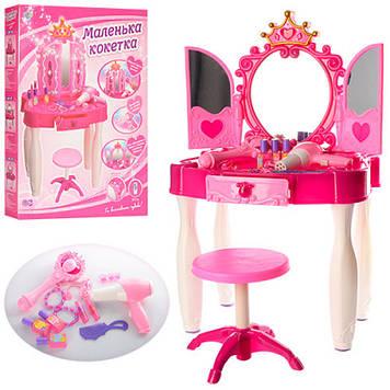 Трюмо з дзеркалом для дівчинки Іграшкова трюмо з MP3 входом і з чарівною паличкою Трюмо дитяче з дзеркалом