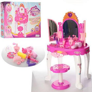Дитяче ігрове трюмо з дзеркалом і аксесуарами Іграшковий туалетний столик, Трюмо зі стільчиком для дівчинки
