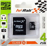 Карта памяти micro SDHC Hi-Rali 4GB class 10 (с адаптером)