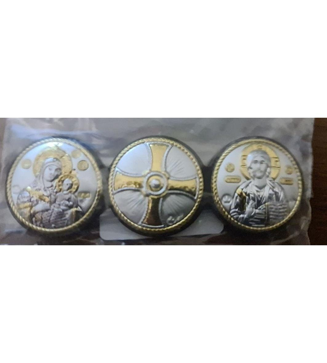 Иконы автомобильные серебряные, Диптих круглый Вифлеемская и Иисус 9,5х7см