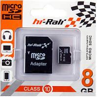 Карта памяти micro SDHC Hi-Rali 8GB class 10 (с адаптером)
