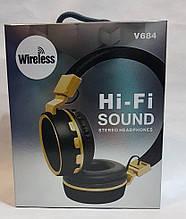 Беспроводные наушники Bluetooth стерео гарнитура V684 FM радио/MP3