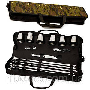 Набір для шашлику, пікніка подарунковий BST 100009 50х13х8 см для шести шашликів