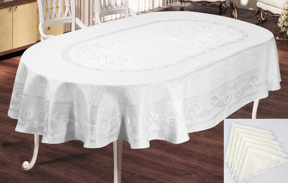 Скатерть Sagol тефлон 160x350 ovale Sgl-003 White + 10 салфеток *