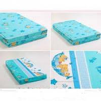 Матрас синий для детской кроватки кпк-lux кокос-поролон-кокос, 120х60 см. толщина 7 см.