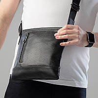 Мужская сумка через плечо без бренда однотонная чёрная Натуральная Кожа премиум качества барсетка для мужчин