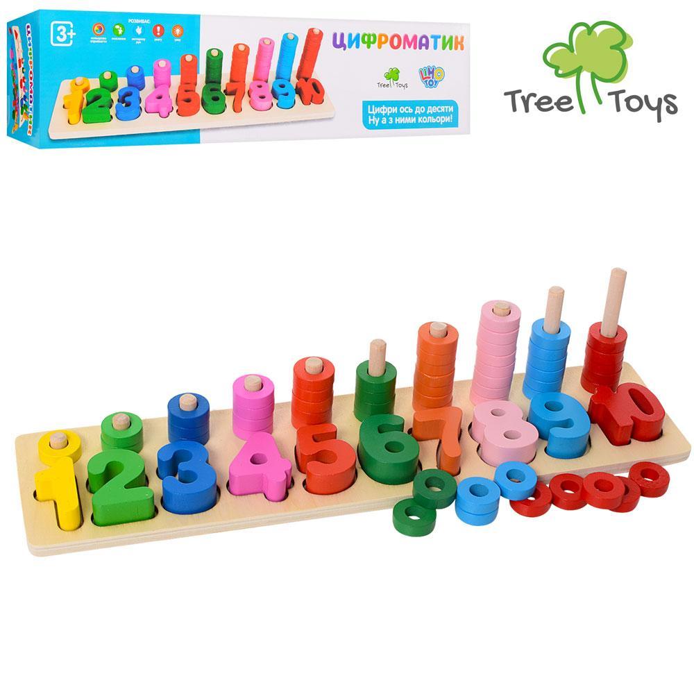 Дерев'яна іграшка Геометричний MD 1268 (36шт) цифри, рамка-вкладиш, в кор-ке, 41-10,5-10,5см