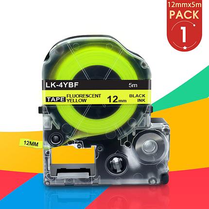 Флуоресцентна стрічка для принтера етикеток Epson LabelWorks LK4YBF Fluor Blk/Yell 12/5 (C53S654010), фото 2