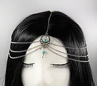 Ланцюжок на голову Тика в стилі бохо (срібло) №77