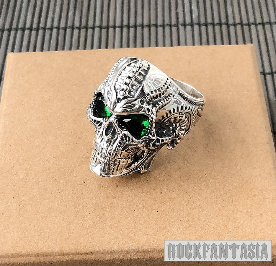Срібне чоловіче кільце перстень Хижак, кільце з черепом череп