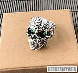 Срібне чоловіче кільце перстень Хижак, кільце з черепом череп, фото 4