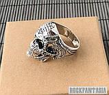 Срібне чоловіче кільце перстень Хижак, кільце з черепом череп, фото 3