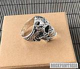 Срібне чоловіче кільце перстень Хижак, кільце з черепом череп, фото 5