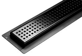 Трап для душу з нержавіючої сталі 70x500 мм з сухим затвором Black (Польща)