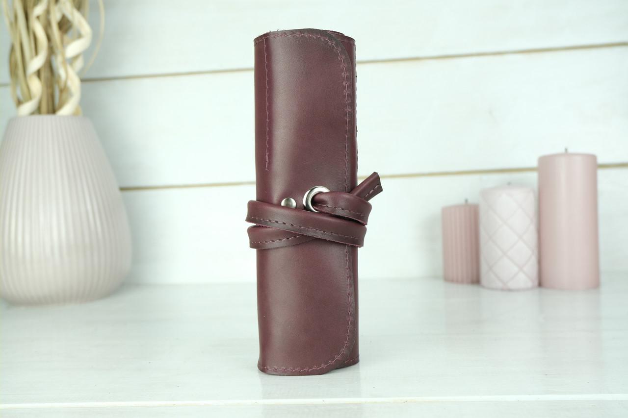 """Шкіряний пенал """"Скручування на 8 кишені"""", Шкіра Італійський Краст, колір Бордо"""