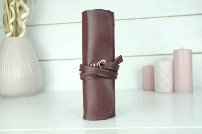 """Шкіряний пенал """"Скручування на 8 кишені"""", Шкіра Італійський Краст, колір Бордо, фото 2"""
