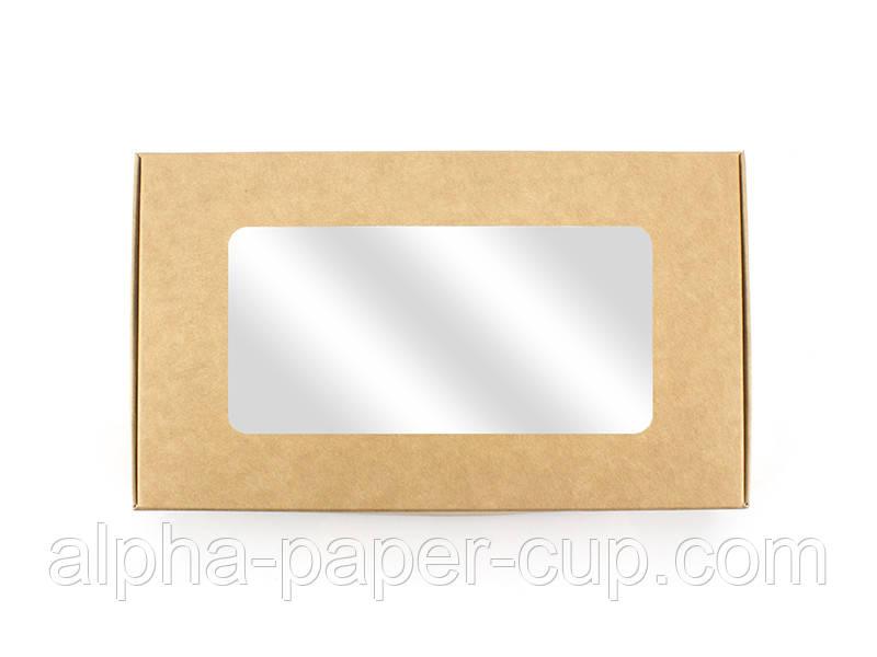 Бумажный контейнер с окошком 197*115*40 крафт-белый, 200 шт/уп, 3 уп/ящ