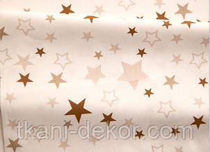 Сатин (хлопковая ткань) белые, коричневые звезды на белом (85*160)