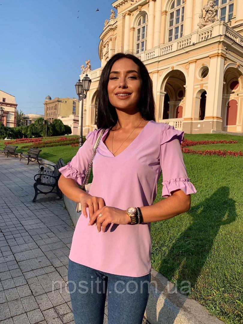 Женская блузка рукава с рюшами