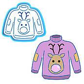 Новорічний светр вирубка з трафаретом 10,5*12 см (TR-1)