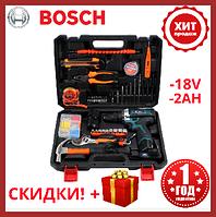 Шуруповерт Bosch TSR18-2LI (18V 2AH) с набором инструментов Аккумуляторная дрель шуруповерт бош 18 вольт