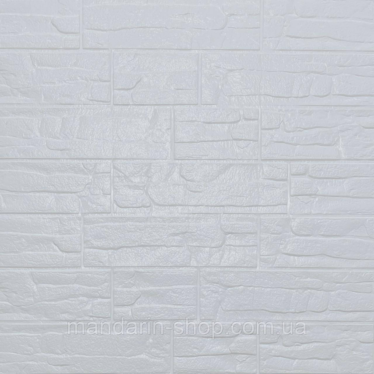 Самоклеющиеся обои Декоративная 3D панель ПВХ 1 шт, Белый рваный кирпич