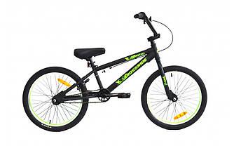 """Трюковый велосипед CROSSRIDE FREESTYLE ST BMX 20"""" Черно-зеленый"""