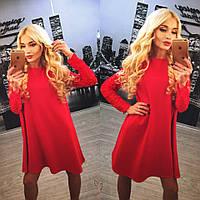 Платье с турецким набивным гипюром красное