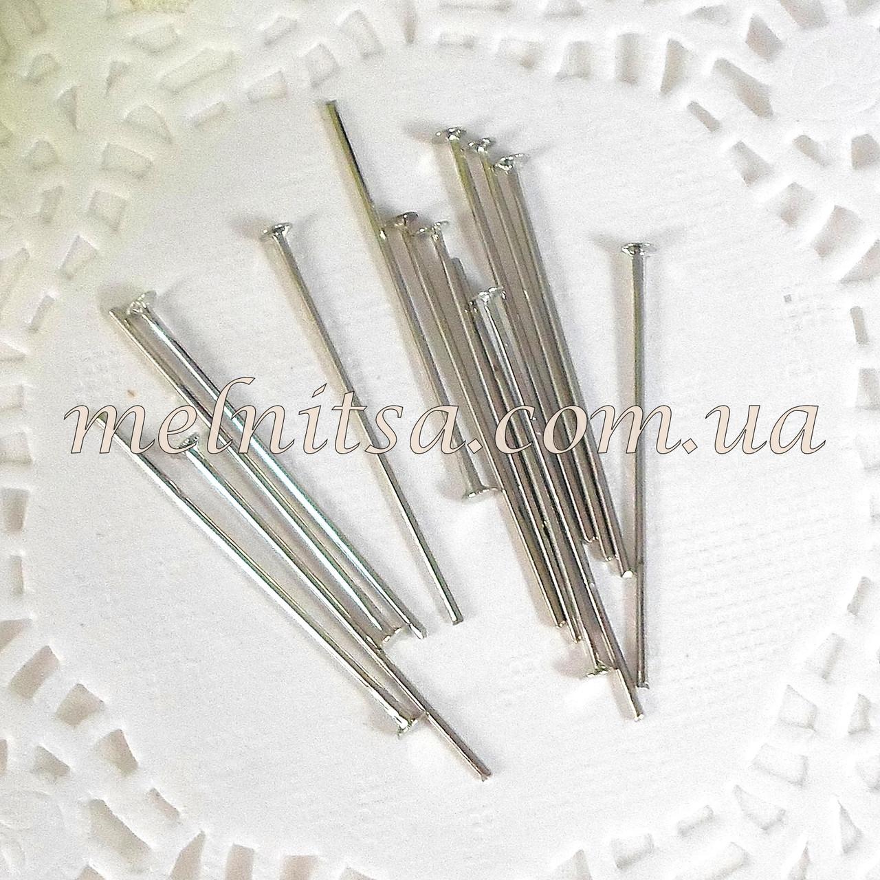 Бижутерные гвозди, 30х0,9х0,2 мм, серебро, 20шт.
