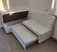 Кухонный угловой диван со спальным местом и ящиком (Белый), фото 1