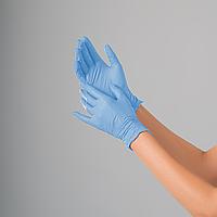 Рукавички нітрилові оглядові нестерильні неприпудрені NITRYLEX CLASSIC р. L (100 шт) Колір:блакитний