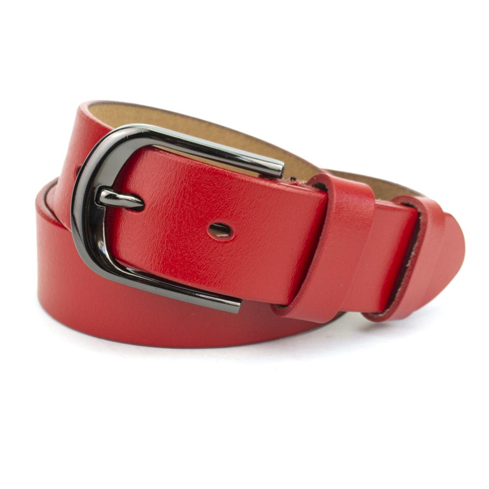 Ремень кожаный женский под джинсы красный PS-3538  red (115 см)