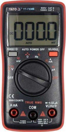 Мультиметр TRUE RMS електричних параметрів з LCD-цифровим діапазоном 9999 Yato YT-73089 (Польща)
