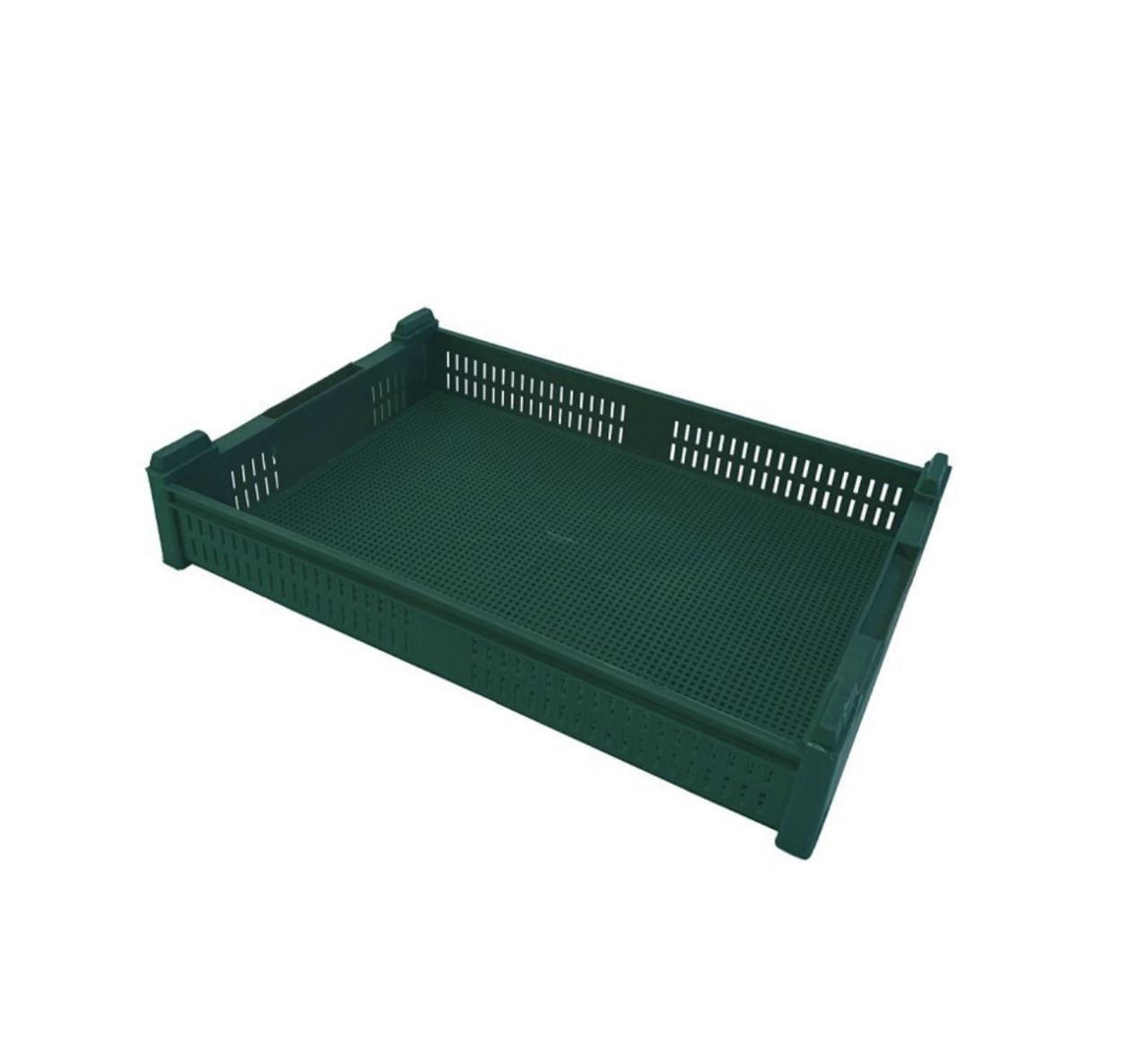 Ящик пластиковый перфорированный (60*40*11 см) Зеленый