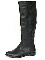 Женские зимние кожаные сапоги в жокейском стиле
