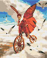 Картина по номерам На крылья снов Девочка на велосипеде 40*50см Riviera Blanca Раскраски Чайки Абстракция