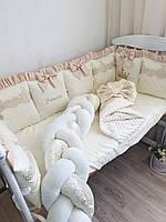 """Бортики в кроватку """" золотисто-бежевые"""", фото 1"""