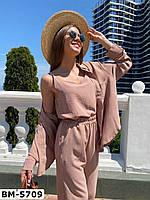 Женский стильный брючный костюм с рубашкой и брюками, фото 1