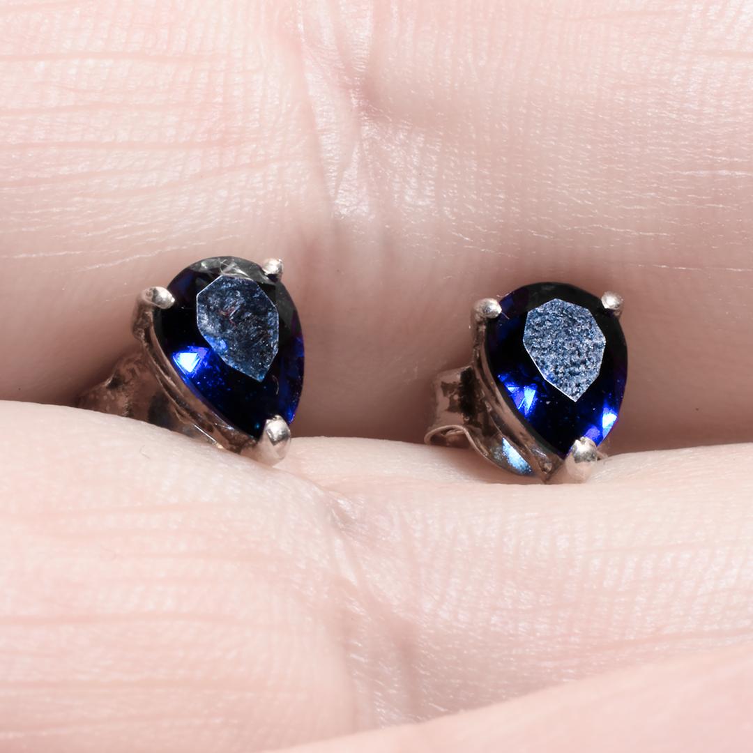 Срібні сережки з шпинелью синій, 1623СШ