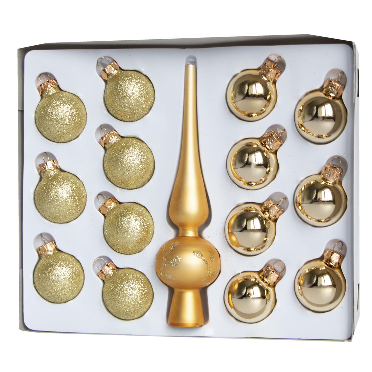 Набор елочных игрушек - мини-шары с верхушкой, 15 шт, D3 см, золотистый, глянец, глиттер, стекло (390748-6)