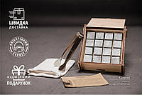 Подарунковий Набір Каменів для Віскі із Стеатиту 16 штук в Дерев'яній Скриньці+Мішечок+Щипці